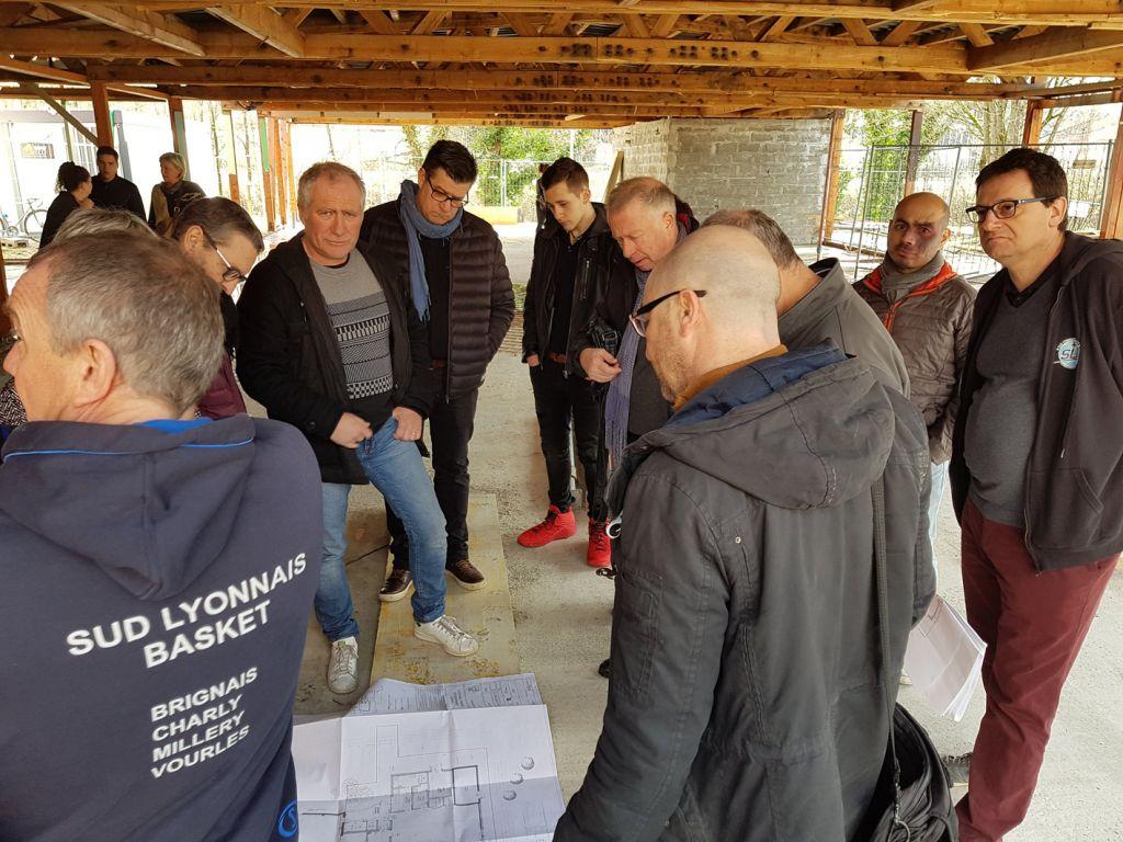 visite associations chantier complexe sportif Pierre Minssieux Brignais