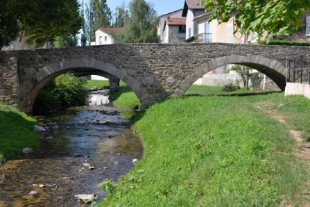 Pont Vieux vue depuis les berges du Garon à Brignais