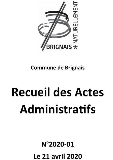 Recueil des Actes Administratifs (RAA) – 1er trimestre 2020