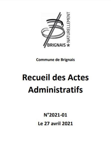 Recueil des actes administratifs (RAA) – 1e trimestre 2021