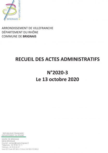 Recueil des actes administratifs (RAA) – 3e trimestre 2020